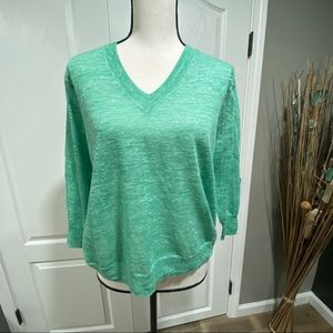 J. Crew marled linen v neck sweater